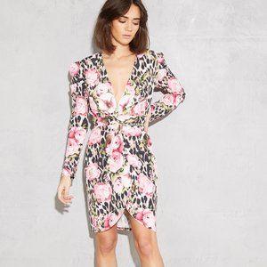 Never Fully Dressed Leopard Floral Wrap Dress